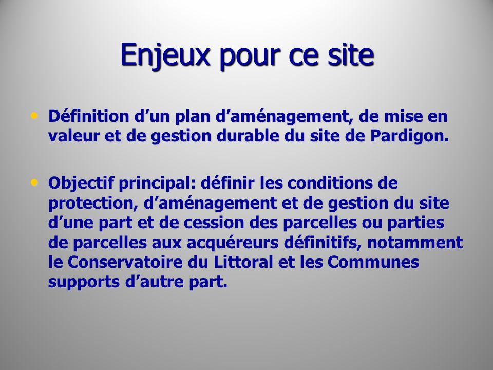 Enjeux pour ce site Définition d'un plan d'aménagement, de mise en valeur et de gestion durable du site de Pardigon.