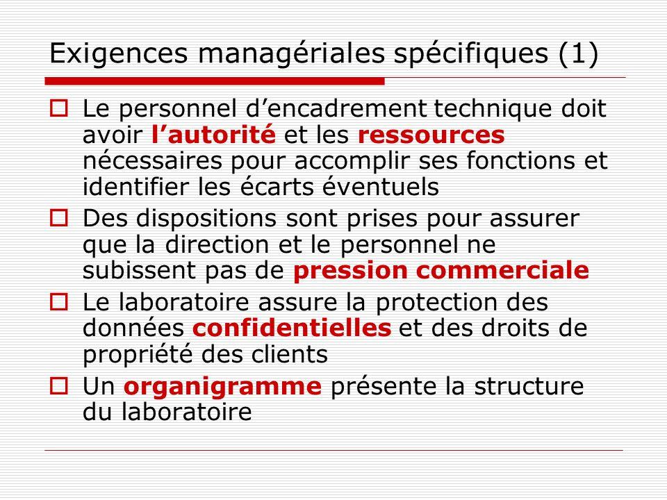 Exigences managériales spécifiques (1)