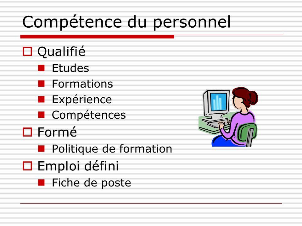 Compétence du personnel