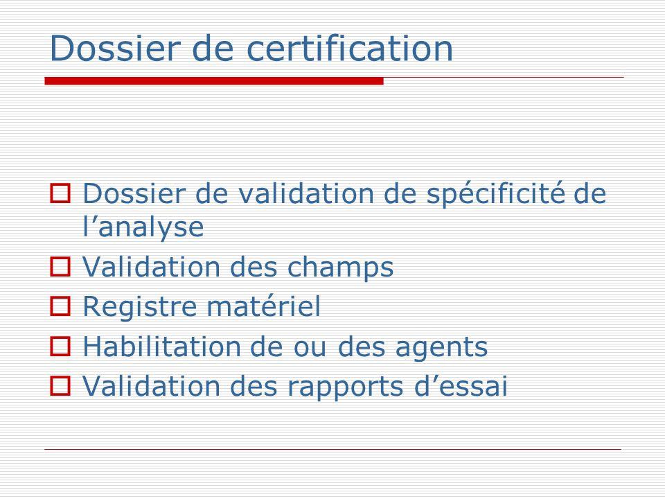 Dossier de certification