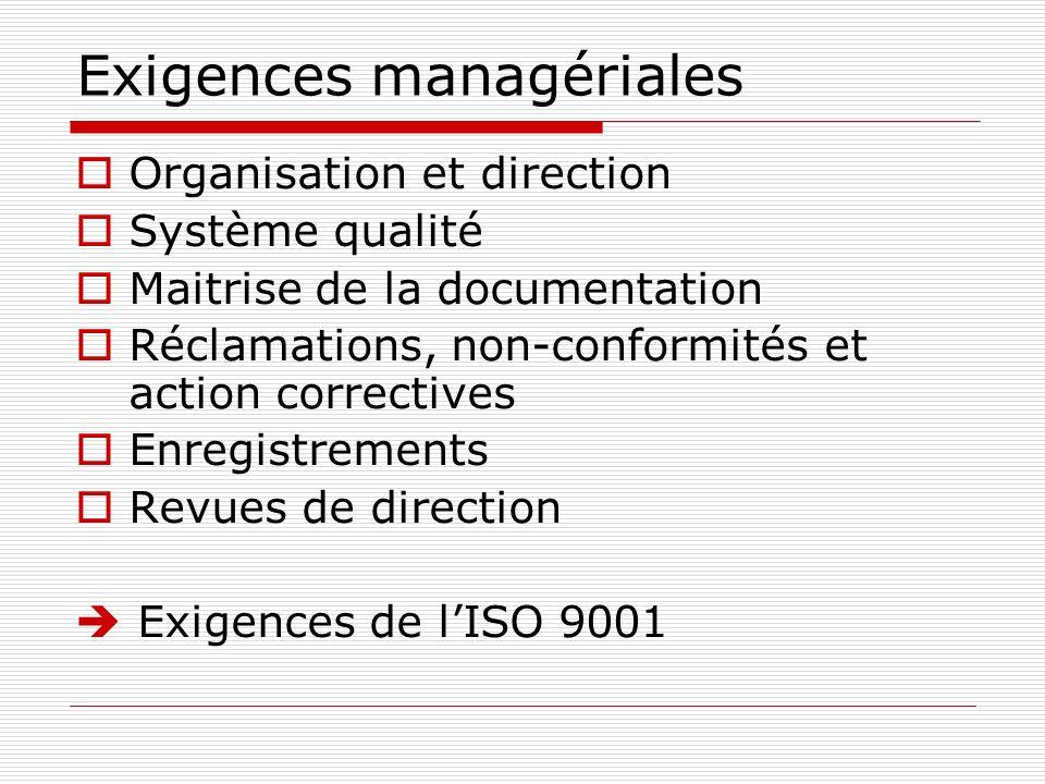 Exigences managériales