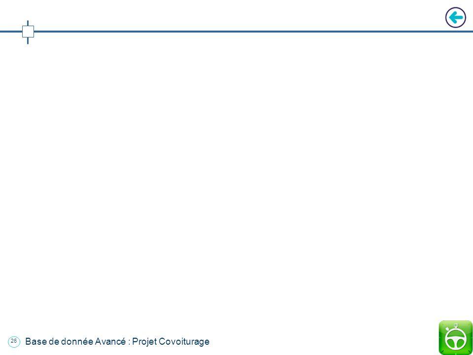 Base de donnée Avancé : Projet Covoiturage