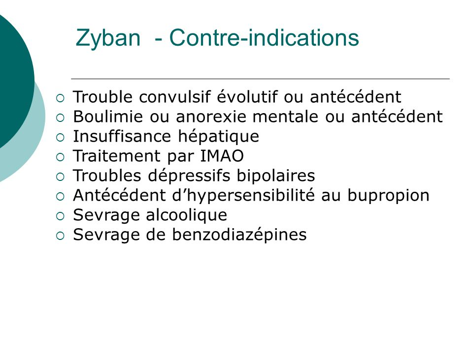 Zyban - Contre-indications