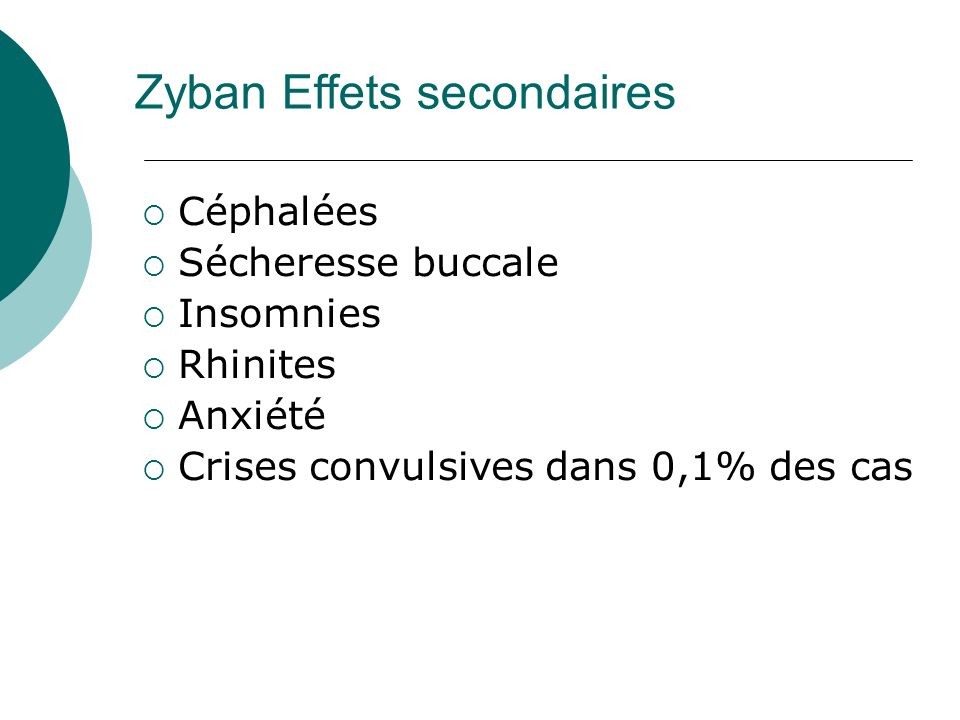 Zyban Effets secondaires