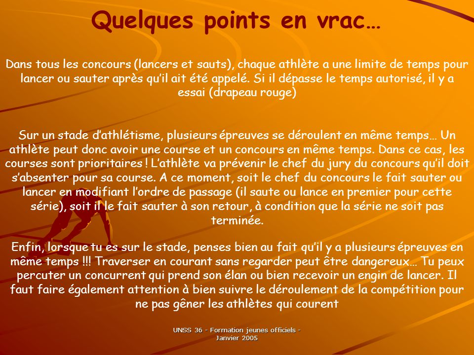 Quelques points en vrac…