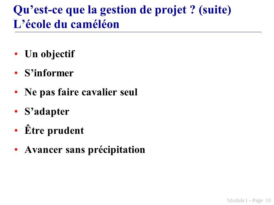 Qu'est-ce que la gestion de projet (suite) L'école du caméléon