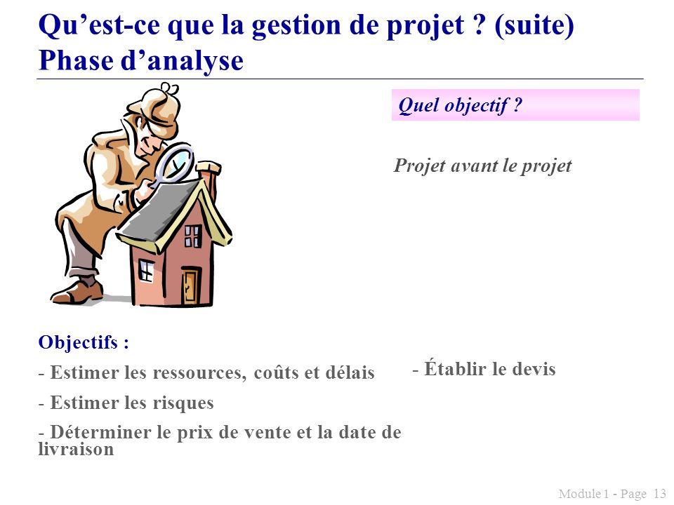 Qu'est-ce que la gestion de projet (suite) Phase d'analyse