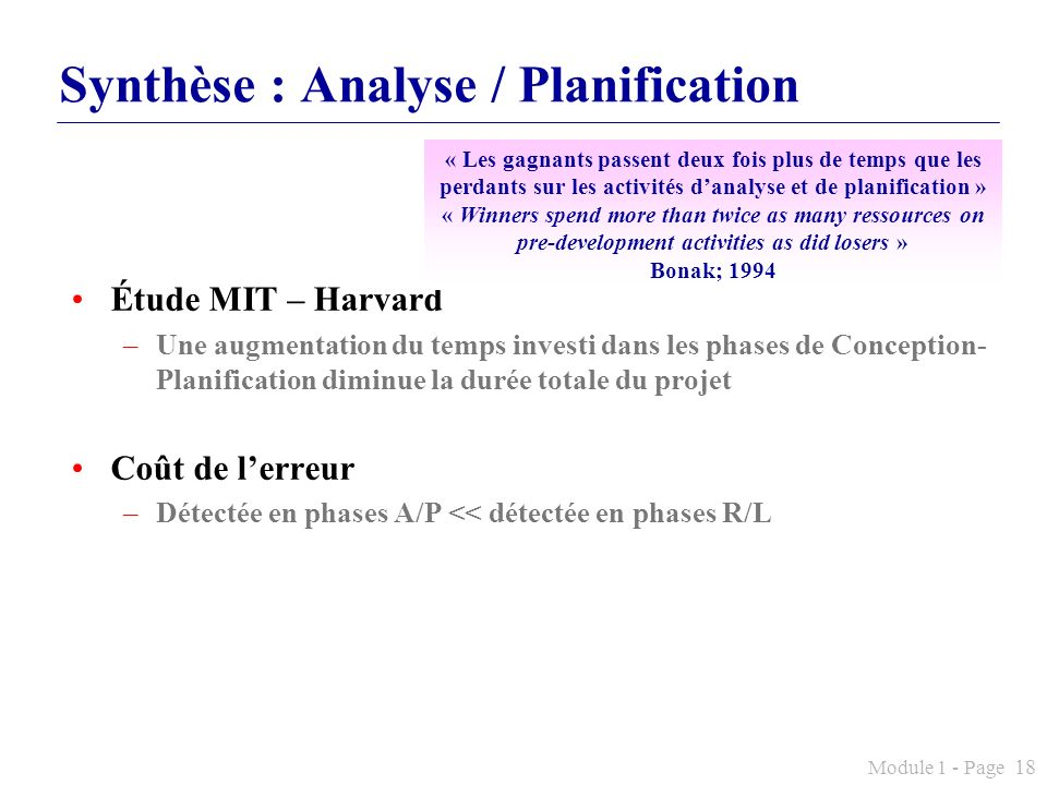 Synthèse : Analyse / Planification