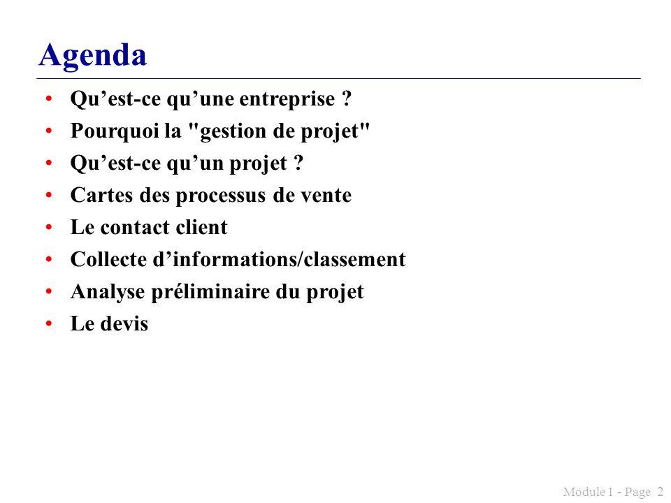 Agenda Qu'est-ce qu'une entreprise Pourquoi la gestion de projet