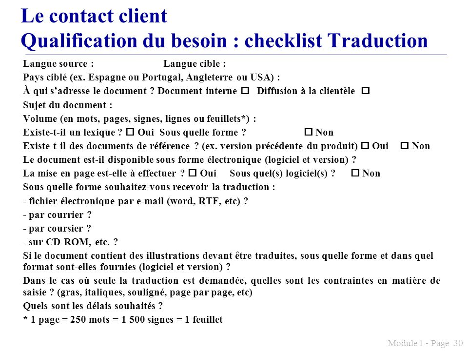 Le contact client Qualification du besoin : checklist Traduction