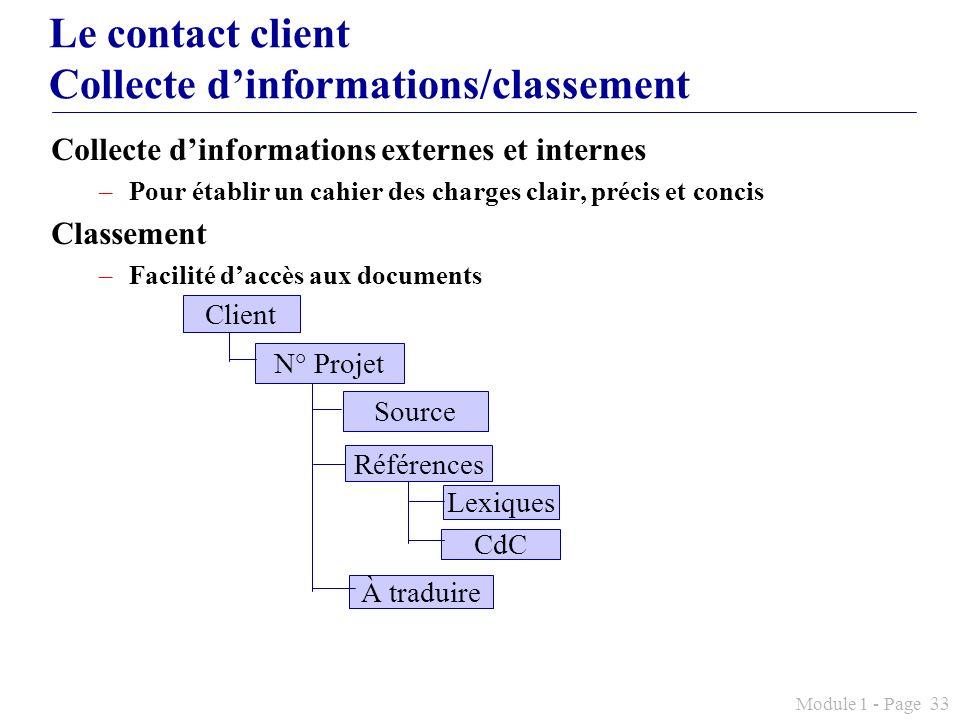 Le contact client Collecte d'informations/classement