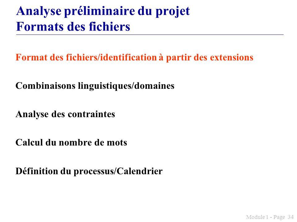 Analyse préliminaire du projet Formats des fichiers