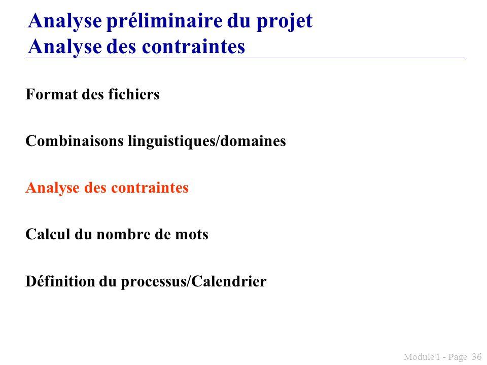 Analyse préliminaire du projet Analyse des contraintes