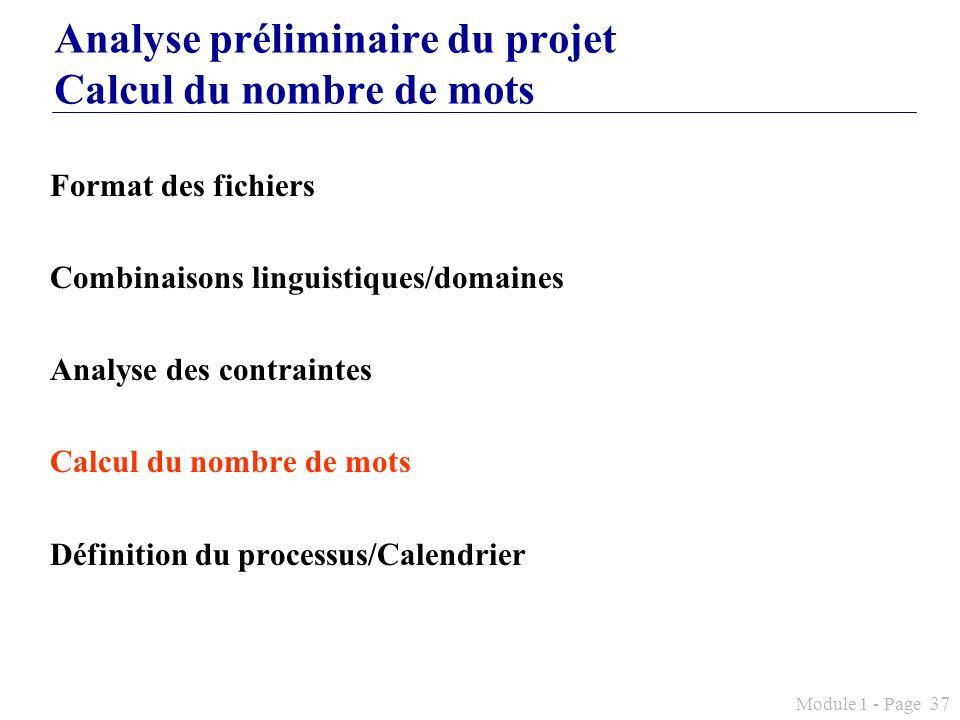 Analyse préliminaire du projet Calcul du nombre de mots