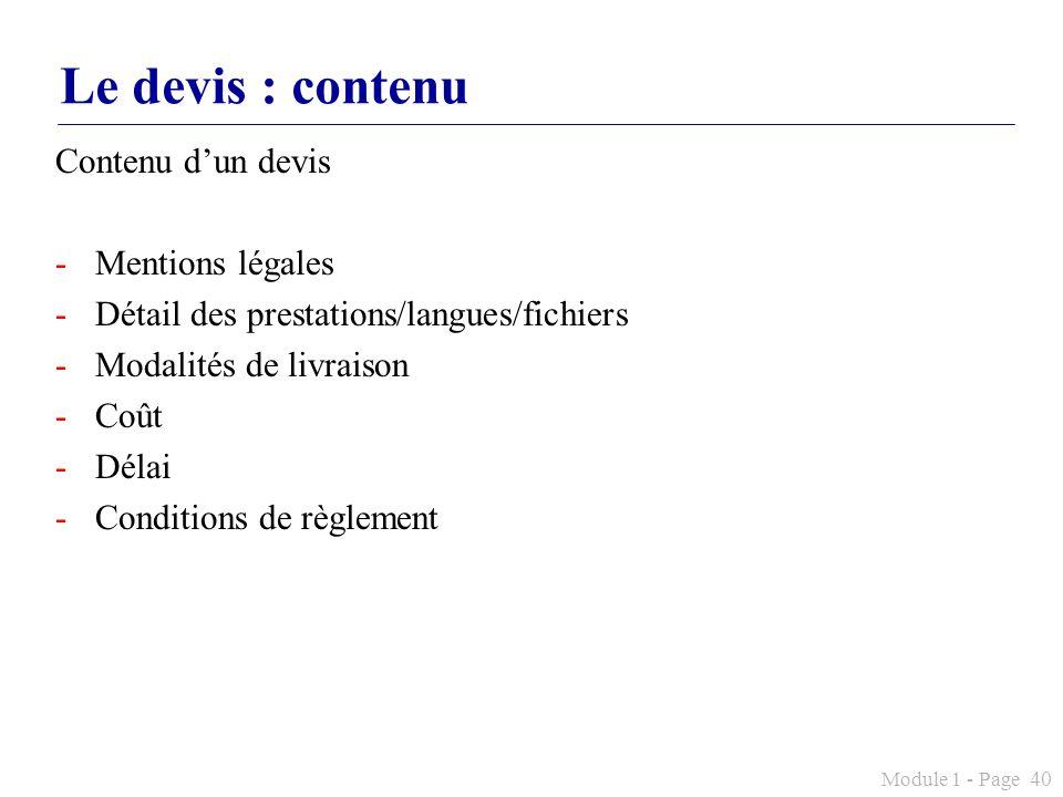 Le devis : contenu Contenu d'un devis Mentions légales