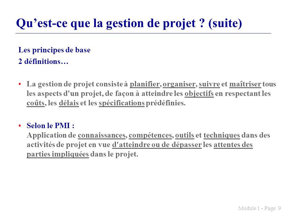 Qu'est-ce que la gestion de projet (suite)