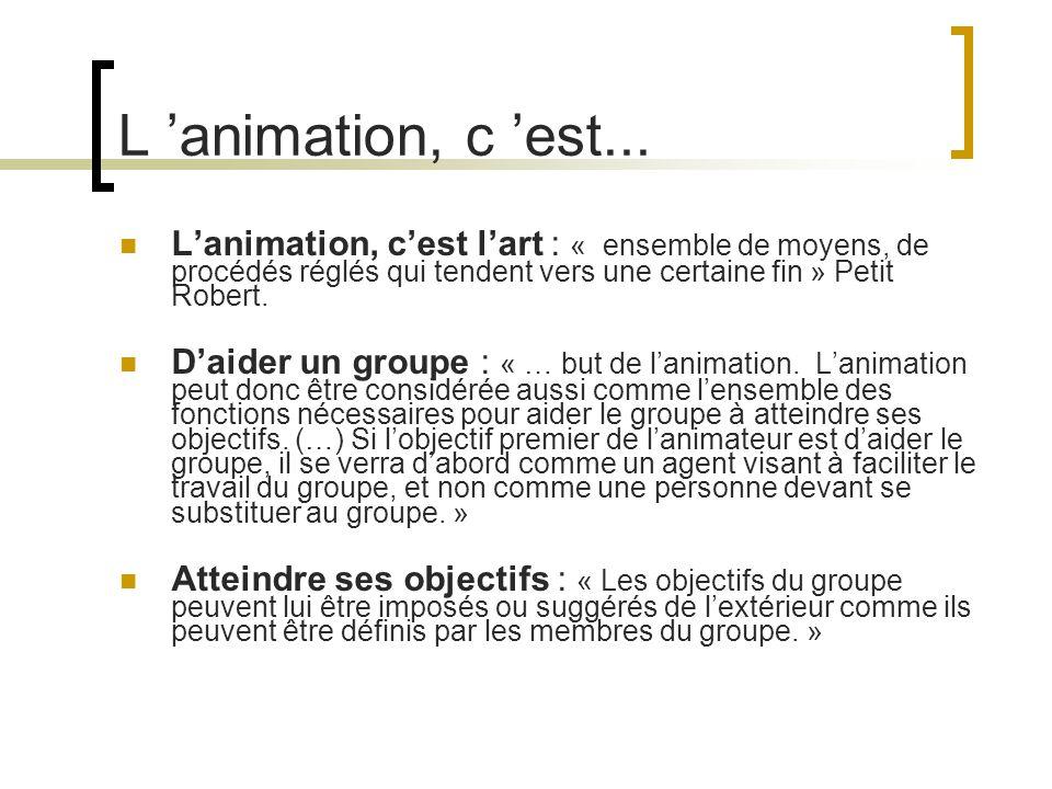 L 'animation, c 'est... L'animation, c'est l'art : « ensemble de moyens, de procédés réglés qui tendent vers une certaine fin » Petit Robert.