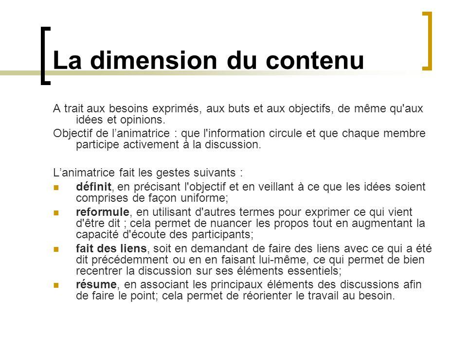 La dimension du contenu