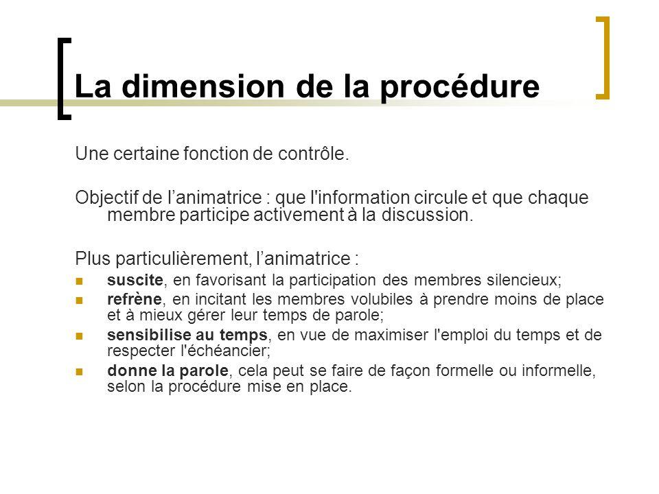La dimension de la procédure