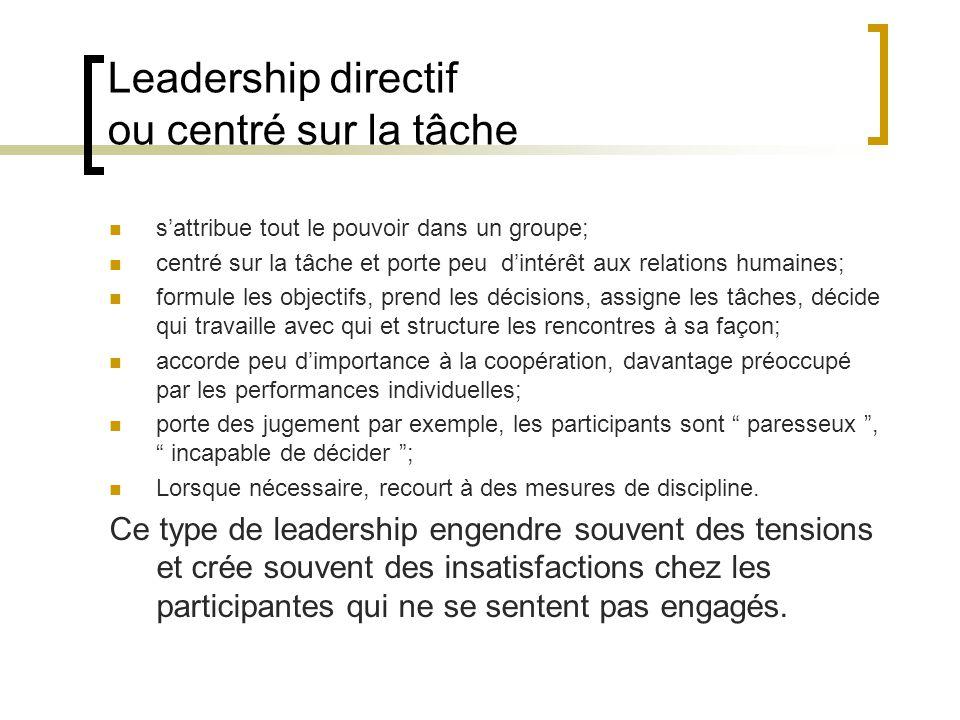 Leadership directif ou centré sur la tâche