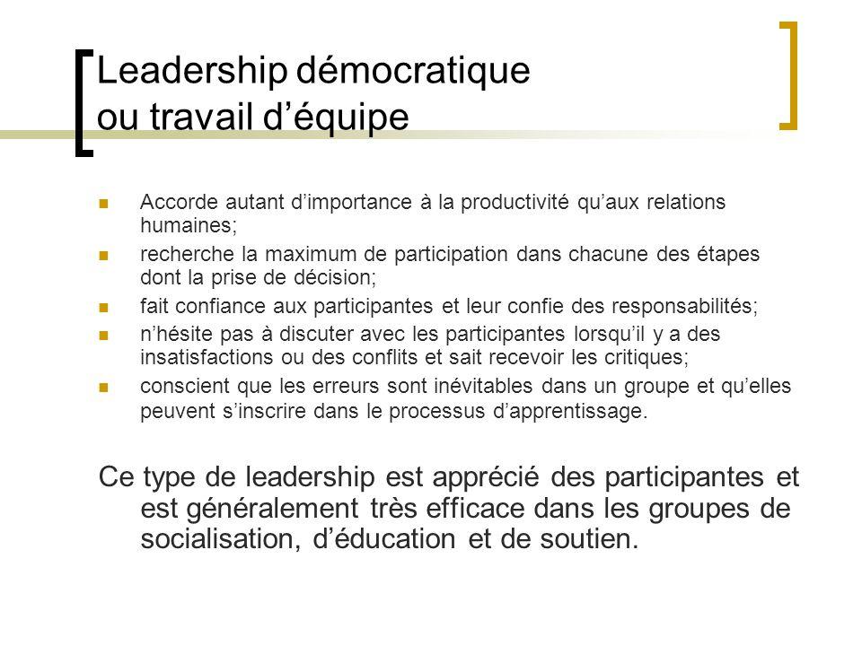 Leadership démocratique ou travail d'équipe