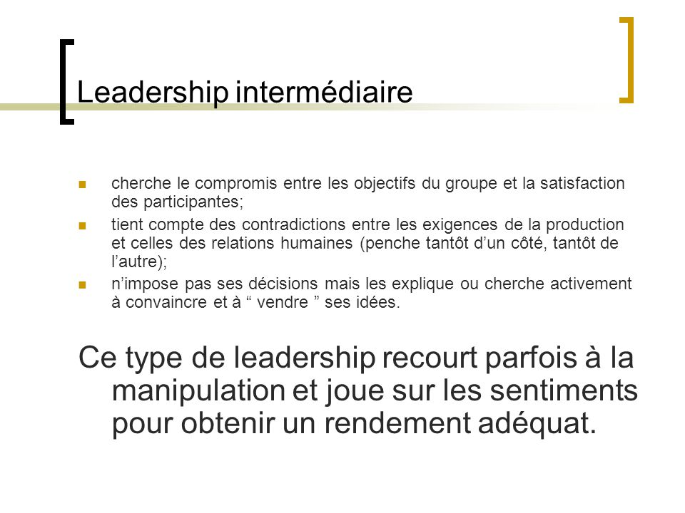 Leadership intermédiaire