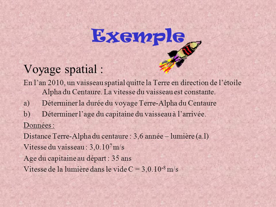 Exemple Voyage spatial :