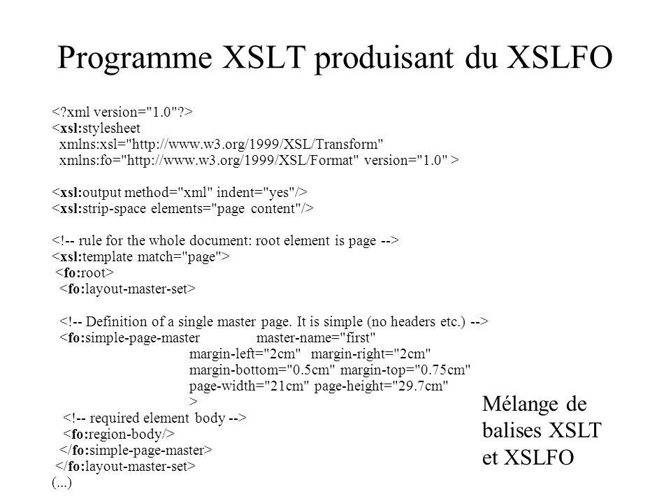 Programme XSLT produisant du XSLFO