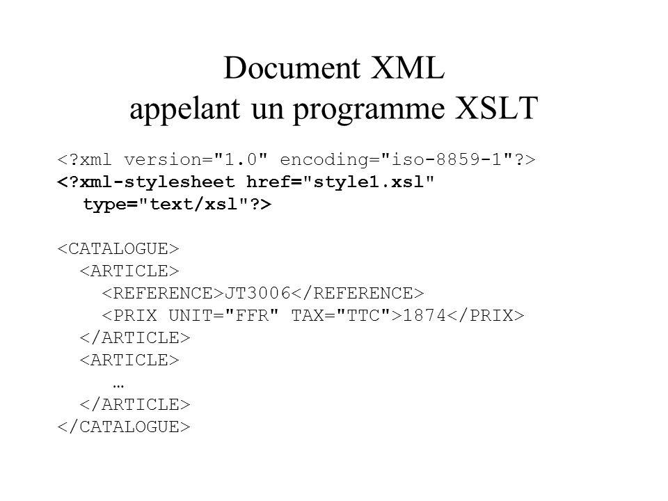 Document XML appelant un programme XSLT