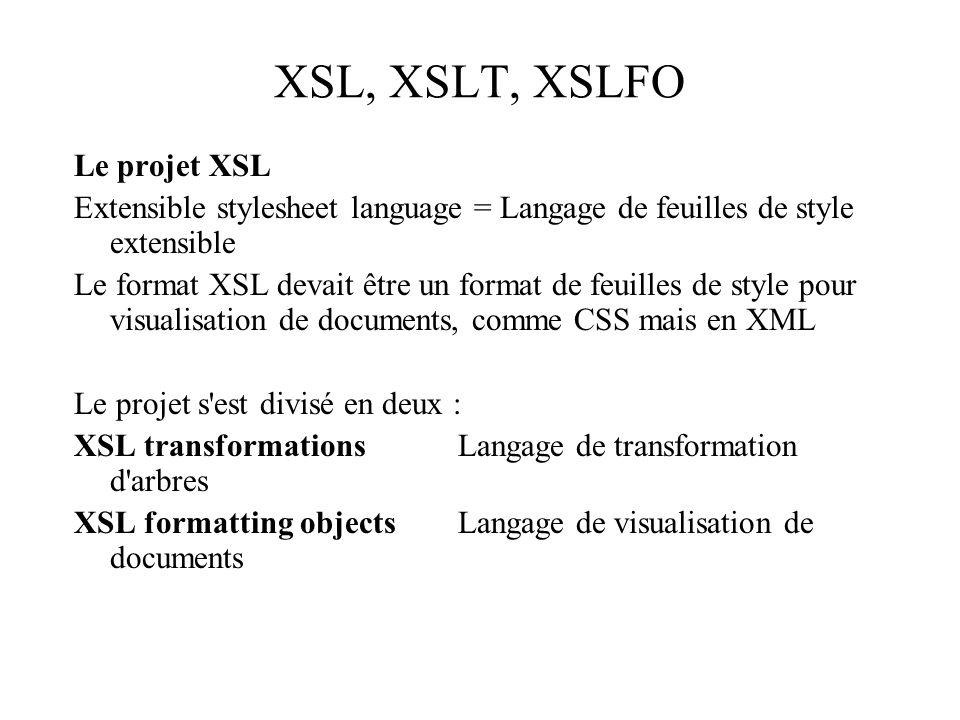XSL, XSLT, XSLFO Le projet XSL