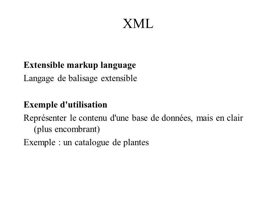XML Extensible markup language Langage de balisage extensible