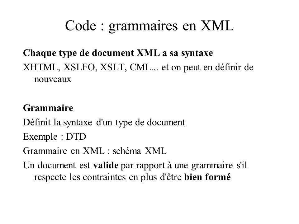 Code : grammaires en XML