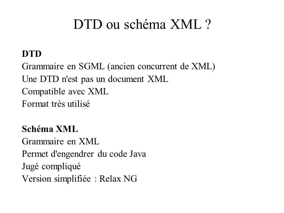 DTD ou schéma XML DTD Grammaire en SGML (ancien concurrent de XML)