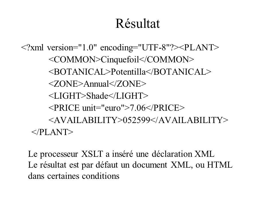 Résultat < xml version= 1.0 encoding= UTF-8 ><PLANT>
