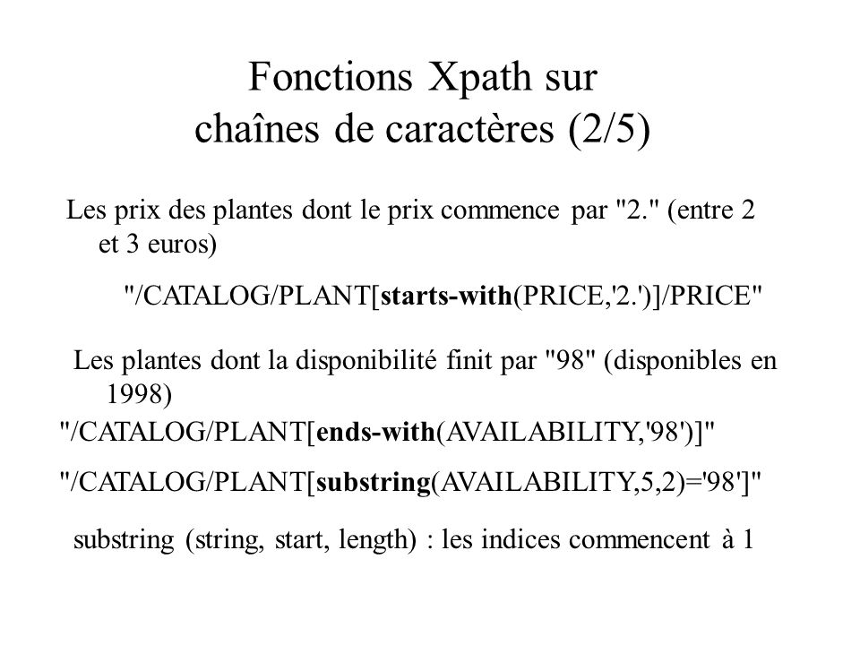 Fonctions Xpath sur chaînes de caractères (2/5)