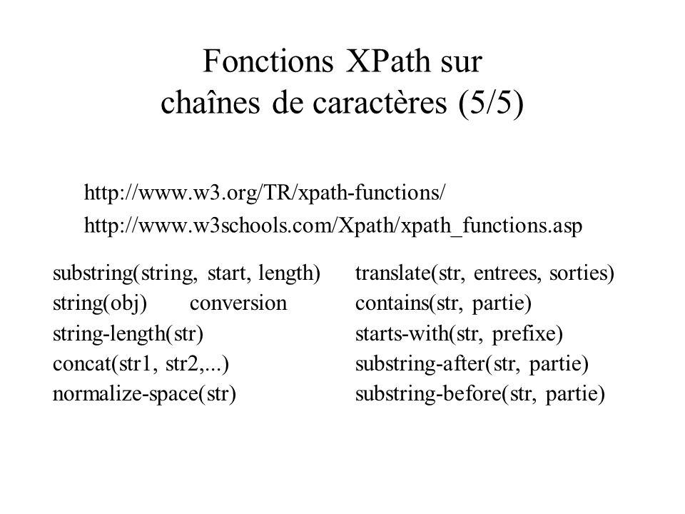 Fonctions XPath sur chaînes de caractères (5/5)