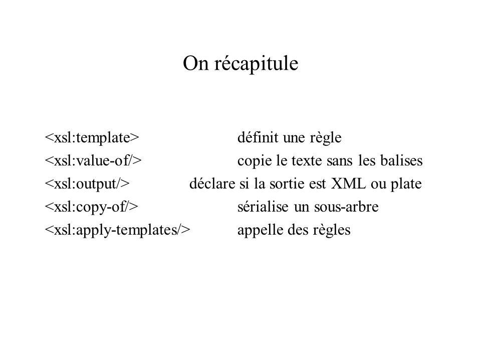 On récapitule <xsl:template> définit une règle