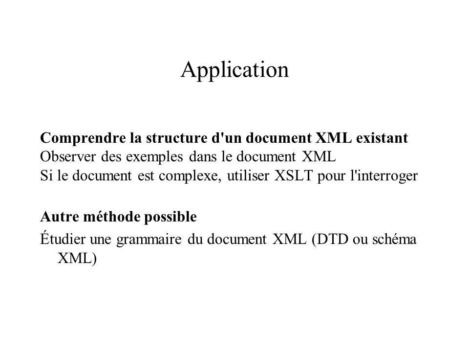Application Comprendre la structure d un document XML existant