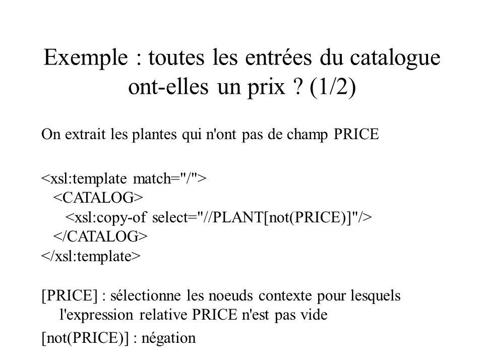 Exemple : toutes les entrées du catalogue ont-elles un prix (1/2)
