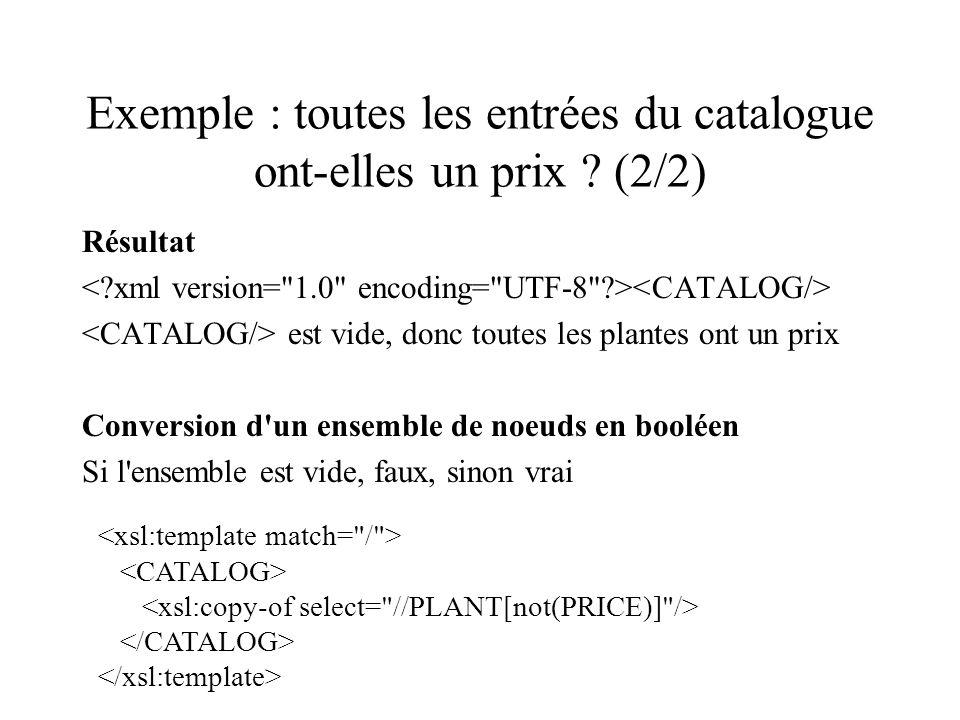 Exemple : toutes les entrées du catalogue ont-elles un prix (2/2)