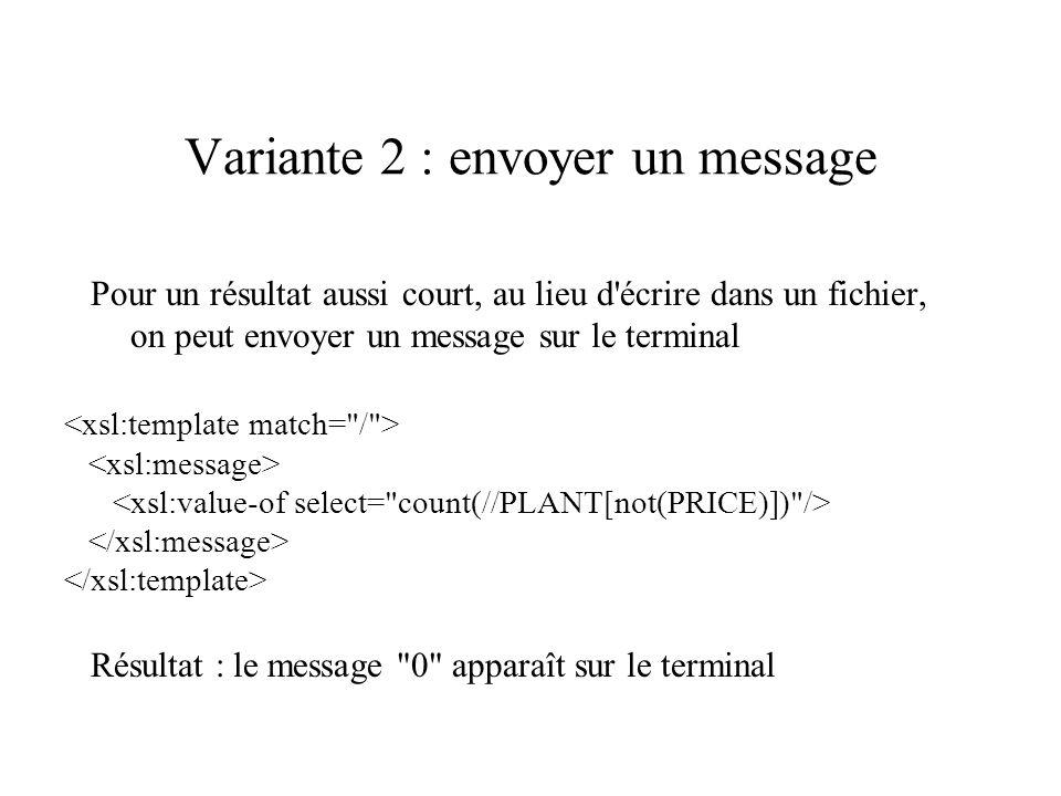 Variante 2 : envoyer un message