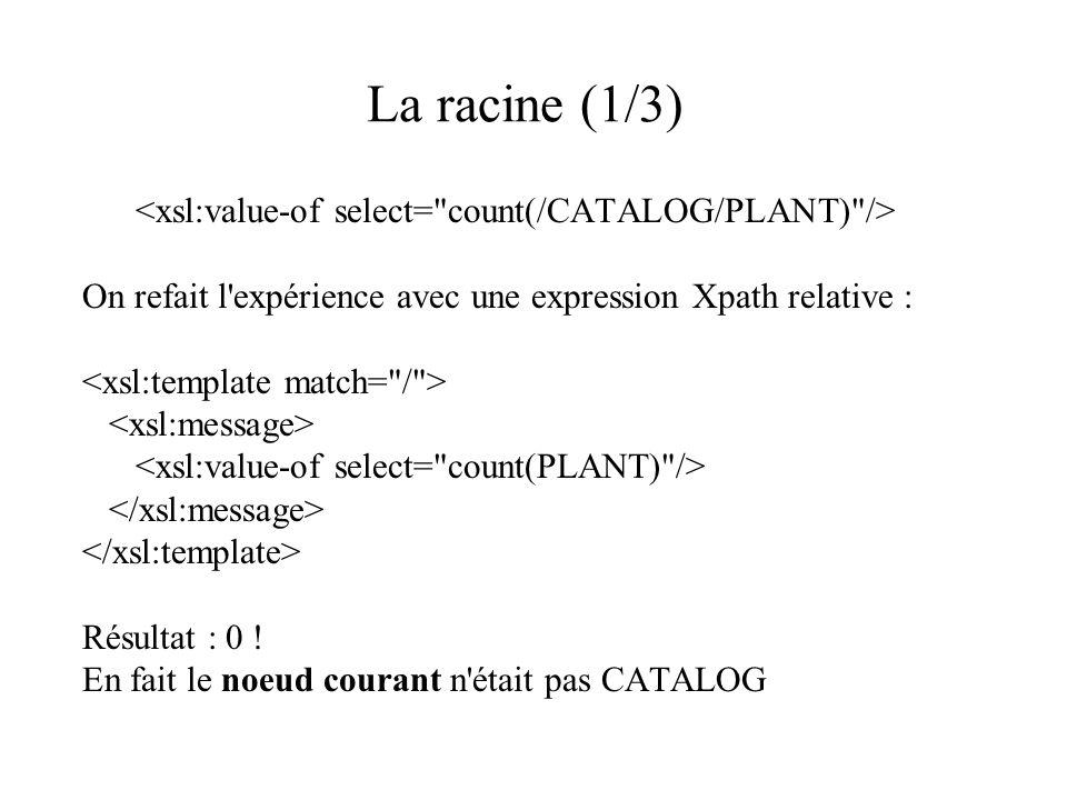 La racine (1/3) <xsl:value-of select= count(/CATALOG/PLANT) />