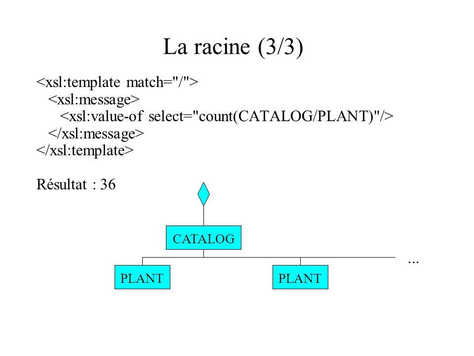 La racine (3/3) <xsl:template match= / > <xsl:message>