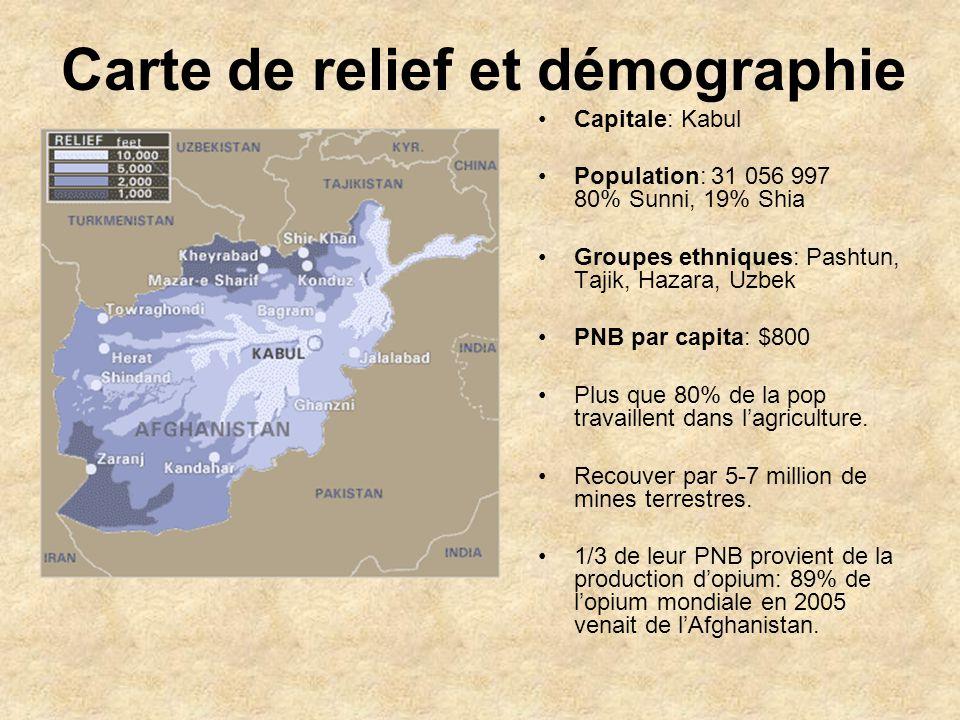 Carte de relief et démographie
