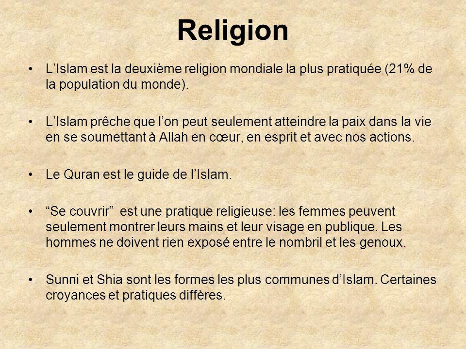 Religion L'Islam est la deuxième religion mondiale la plus pratiquée (21% de la population du monde).