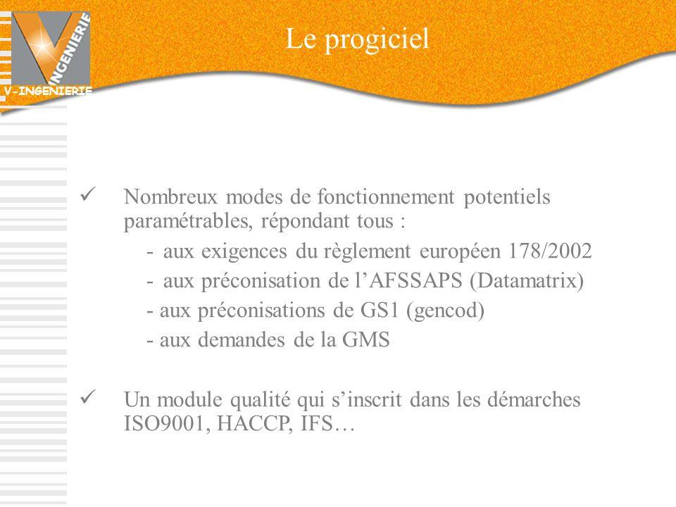 Le progiciel Nombreux modes de fonctionnement potentiels paramétrables, répondant tous : aux exigences du règlement européen 178/2002.
