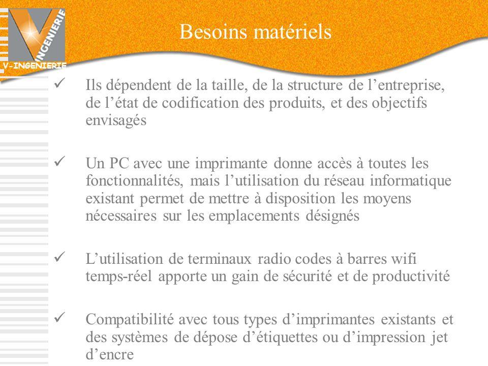 Besoins matériels Ils dépendent de la taille, de la structure de l'entreprise, de l'état de codification des produits, et des objectifs envisagés.