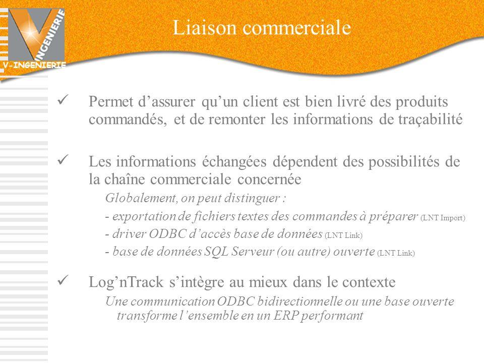 Liaison commerciale Permet d'assurer qu'un client est bien livré des produits commandés, et de remonter les informations de traçabilité.