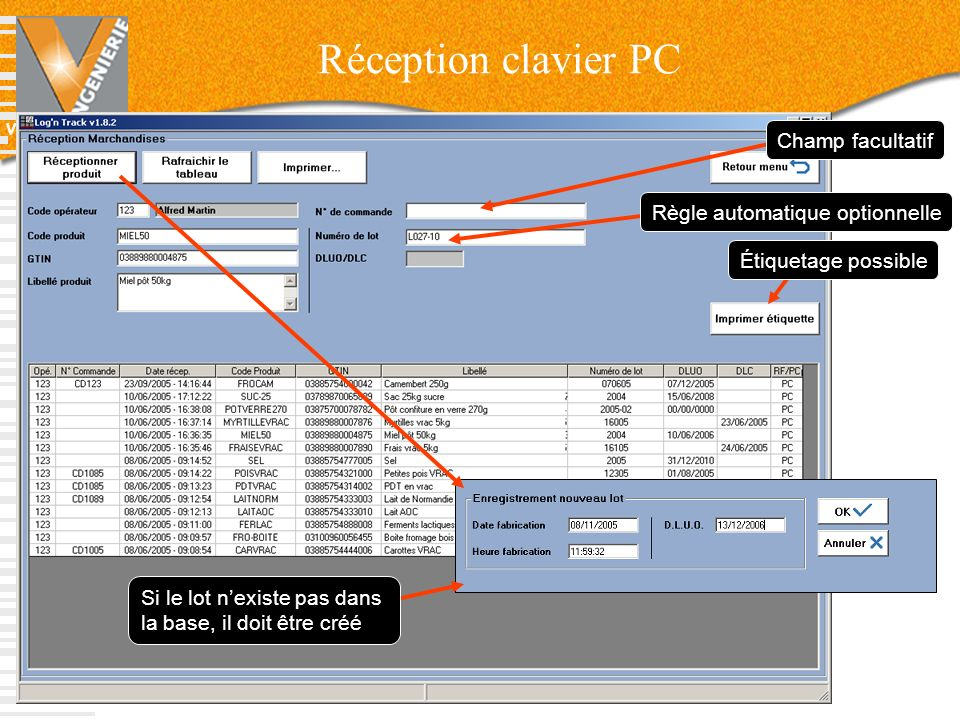Réception clavier PC Champ facultatif Règle automatique optionnelle