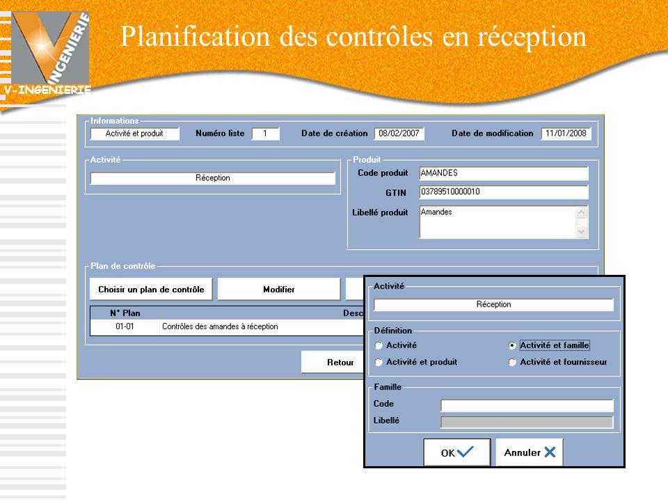 Planification des contrôles en réception
